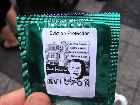 Ellis Act evictor immortalized on a condom at Folsom Street Fair