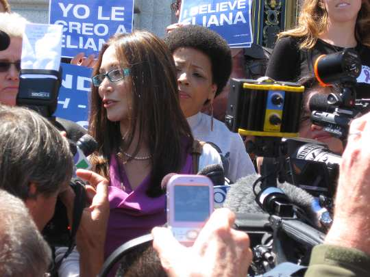 Eliana steals the show at Thursday's dueling City Hall rallies