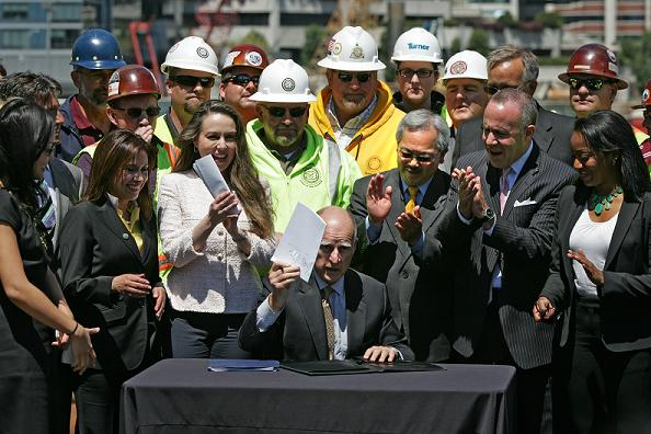 Governor signs high-speed rail funding bill at Transbay Terminal