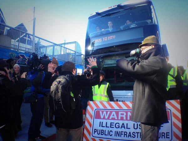 UPDATE: Union organizer shouts down protesters as they block private Google shuttle