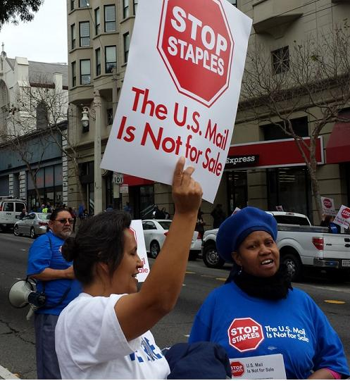 Labor protests Postal Service privatization amid deal with Staples